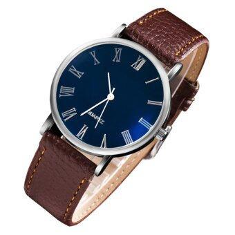 MEGA Quartz Waterproof Luminescence Glass Wristwatch Roma Digits หรูหรานาฬิกาข้อมือ สายหนัง กันน้ำ รุ่น MG0010 (Brown) (image 1)