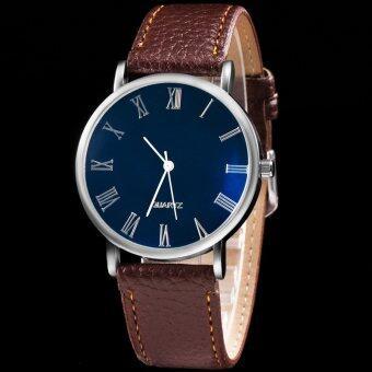 MEGA Quartz Waterproof Luminescence Glass Wristwatch Roma Digits หรูหรานาฬิกาข้อมือ สายหนัง กันน้ำ รุ่น MG0010 (Brown) (image 3)