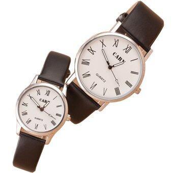 MEGA Quartz Waterproof Slim PU Leather Wristwatch Lover CoupleWatch หรูหรานาฬิกาข้อมือ สายหนัง กันน้ำ นาฬิกาคู่ รุ่น MG0011(White)