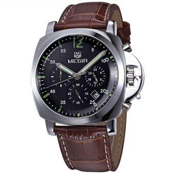 ชายเสื้อยี่ห้อ Megir นาฬิกาโครโนกราฟนาฬิกาหรูหนังทหาร(สีน้ำตาลกับสีดำ)
