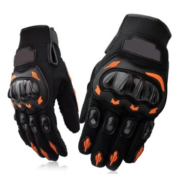 Men Full Finger Adjustable Motorcycle Riding Cycling Golves RidingProtective Outdoor Sports Hunting Shooting Driving MountainClimbing Fitness Hand Gloves Orange Size XXL - intl