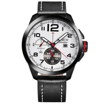 Men Luxury Army Date Sport Leather Wrist Watch Waterproof Analog Quartz Watches - intl