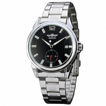 Men Unisex Business Automatic Mechanical WristWatch นาฬิกาข้อมือWorking Sub Dial Date Classic Concise Watch นาฬิกาข้อมือ Black& White Dial + GIFT BOX 060