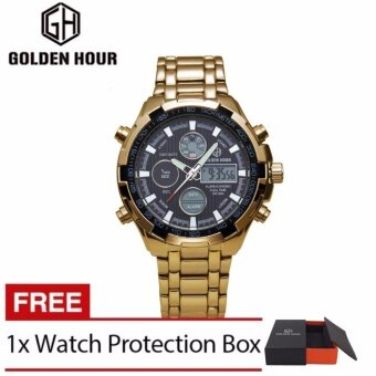 Harga Men's Metal Double Movement Watch, Electronic Display,Multi-function Fashion Leisure Watch, Double Movement Watch (black)- intl