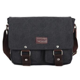 Men's Vintage Canvas School Satchel Shoulder Messenger Bag(black) (Intl)