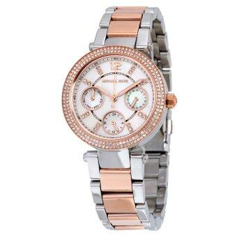 ราคา MICHAEL KORS Mini Parker Silver Dial GMT Two Tone Stainless Steel Ladies Watch MK6306