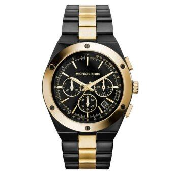 MICHAEL KORS WOMEN'S BLACK STAINLESS YELLOW GOLD TONE ACCENT CHRONO WATCH MK5995