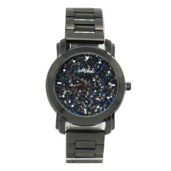 ซื้อ/ขาย Mishali นาฬิกาข้อมือฝังเพชรชวารอปสกี รุ่น M-12961 สีดำหน้าปัดเพชรสีน้ำเงิน