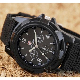 Moonar ผ้าใบเข็มขัดแฟชั่นชายของทหารบกก่อผลึกนาฬิกาข้อมือกีฬา (สีดำ)