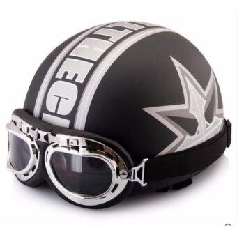 Motorcycle half-cover helmet & Gogglesหมวกกันน็อคครึ่งใบพร้อมแว่นกันลมเลนส์ใส ขนาดศรีษะ 54-60 ซม. แถมฟรีแว่นกันลมเลนศ์ปรอท - 2