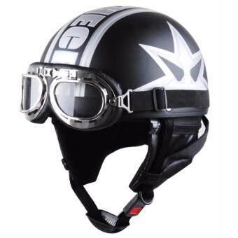 Motorcycle half-cover helmet & Gogglesหมวกกันน็อคครึ่งใบพร้อมแว่นกันลมเลนส์ใส ขนาดศรีษะ 54-60 ซม. แถมฟรีแว่นกันลมเลนศ์ปรอท - 3