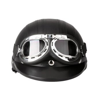 Motorcycle Scooter Open Face Half Leather with Visor UV Goggles Retro Vintage Style 54-60cm - intl