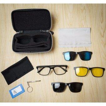 แว่นกันแดด Multi Magnet 4 in1 ลดการสะท้อนแสงและกันแดด แว่นตาแฟชั่น แว่นแฟชั่น ผู้ชาย เลนส์ Polarized โพลาไรซ์ แว่นคลิปออน Clip on Sunglasses