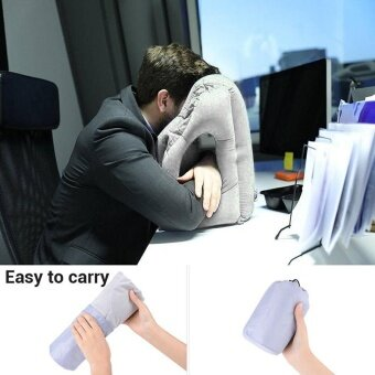 Multifunction Inflatable Air Travel Pillow Airplane Office Desk NapPillow Grey - intl