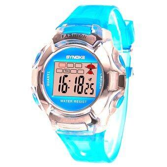 นักกีฬาเด็กสายนาฬิกาข้อมือแบบดิจิทัลอิเล็กทรอนิกส์ซิลิโคนสำหรับเด็กหนุ่มสาว-สีน้ำเงิน