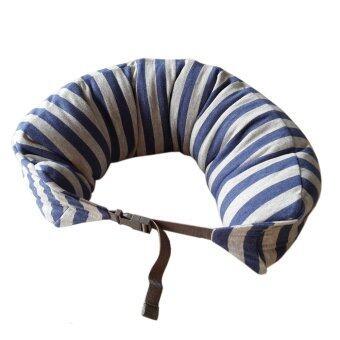 Nampet Shop หมอนรองคอ Japan U-Shape Neck Cushion Fit (Light BlueGray Stripe)