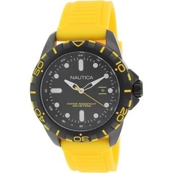 ราคา Nautica นาฬิกาข้อมือชาย Analog Display Watch with Black Case and Yellow Band N11617G