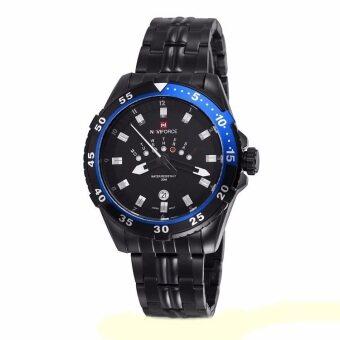 ซื้อ/ขาย NAVIFORCE นาฬิกาข้อมือชาย หน้าปัดดำ ขอบน้ำเงิน สายเหล็ก สีดำ