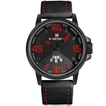 ซื้อ/ขาย NAVIFORCE นาฬิกาข้อมือชาย เข็มสีแดง พื้นหน้าปัด 2 ชั้น สายหนัง (สีดำ)