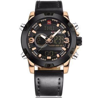 ซื้อ/ขาย NAVIFORCE นาฬิกาข้อมือชาย 2 ระบบ ขอบหน้าปัดหัวสกรู เรือนทอง (สีดำ)