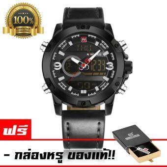 NAVIFORCE นาฬิกาข้อมือผู้ชาย สายหนัง กันน้ำ 2ระบบ ดิจิตอลและอนาล็อค สไตล์สปอร์ต รุ่น NF9091 (สีดำล้วน)