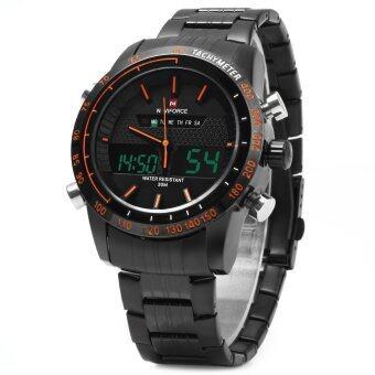 NAVIFORCE NF9024 คู่นาฬิกาแบบผู้ชาย Movt นาฬิกาข้อมือ Led ผลึกคล้ายคลึงปฏิทินนาฬิการัดสเตนเลส (สีดำ)