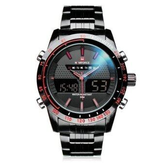 Naviforce NF9024 Military Dual Display Week Date Men Wrist Watch Black&Red - intl