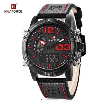 NAVIFORCE NF9095M Men Dual Movt Watch Luminous Calendar LED Light 3ATM Wristwatch - intl