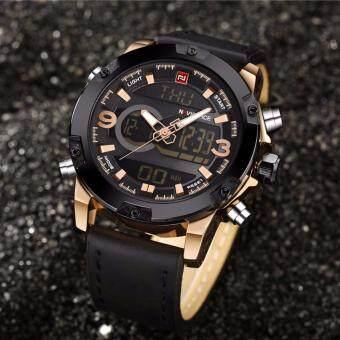 NAVIFORCE นาฬิกาข้อมือผู้ชาย NF9097-BLA สองระบบ สายหนังสีดำ