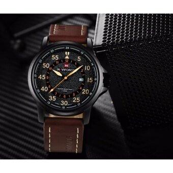 NAVIFORCE WATCH นาฬิกาข้อมือผู้ชาย สายหนัง ของแท้100% กันน้ำมีบอกวันที่ สไตล์สปอร์ต รุ่น NF9076 (น้ำตาล)
