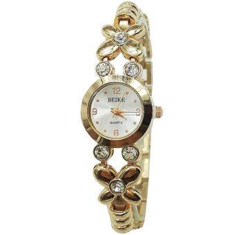 Neptune Beike นาฬิกาแฟชั่น นาฬิกาข้อมือ ผู้หญิง เพชรหรู สแตนเลส สีทอง Diamond Fashion Golden Women Lady Wrist Watch (Gold)
