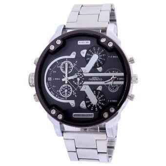 Neptune นาฬิกาข้อมือ นาฬิกาแฟชั่น ผู้ชาย สายสแตนเลส สีเงิน สีดำ Fashion Casual Stainless Steel Quartz Analog Men Luxury Wrist Watch (Silver Black)