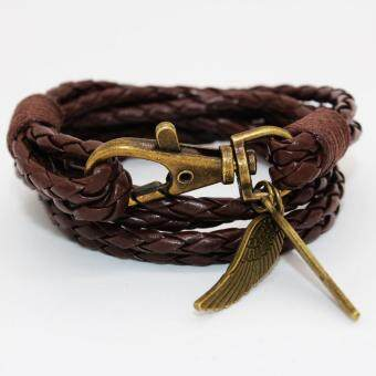 Harga New Arrival Elegant PU Leather Charm Friendship Bracelets Bangles Feather Accessories Wedding Men Jewelry New(Brown) - intl