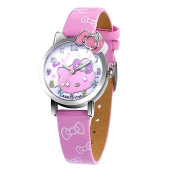 new children kids girls HK lovely cat leather watch colourfulstudents beautiful girl bowknot party gift quartz watches - intl