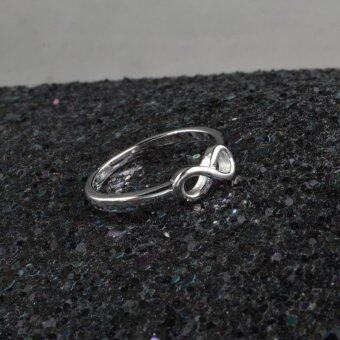New Fashion 925 Sterling Silver Infinity Ring Statement JewelryBanquet Party Accessories for Women-Silver,10# - intl - 2