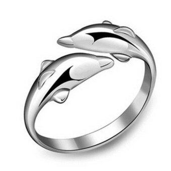 Harga New Fashion Sterling Double Dolphin Opening Adjustable Ring GiftSilver- - intl