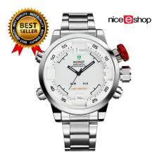 niceEshop Mens Dual Time Display Sports Wrist Watches(SilverWhite)