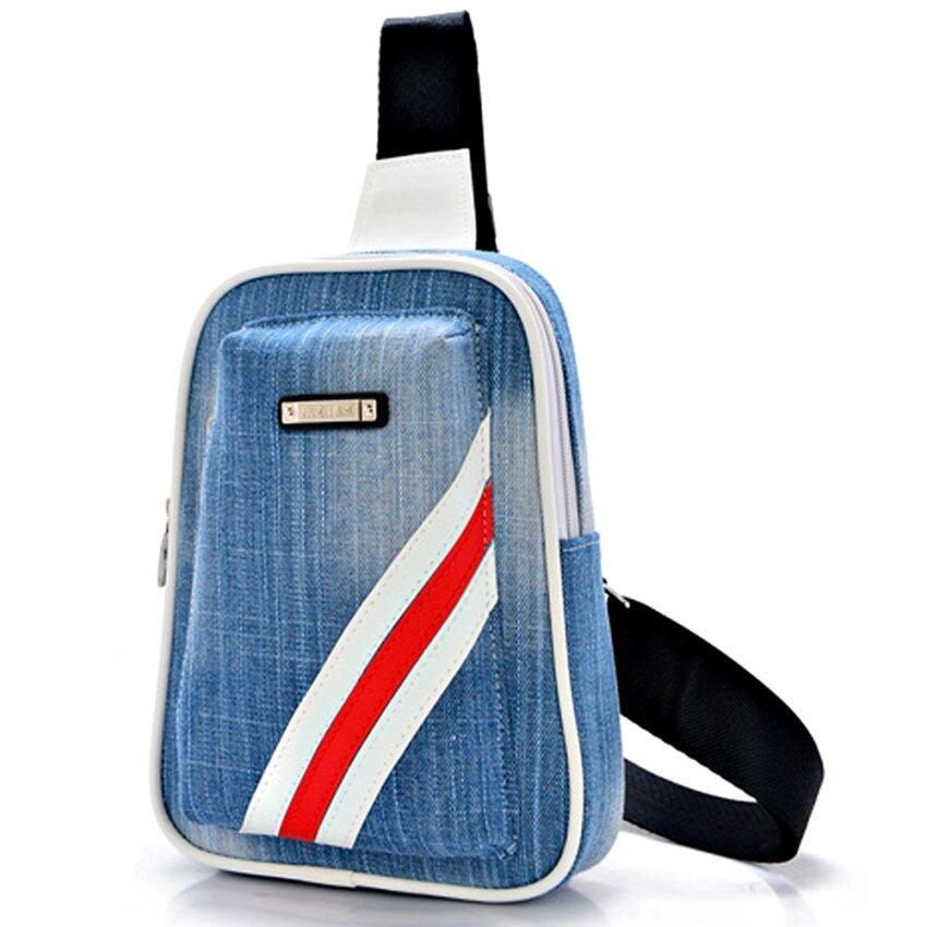 Nifty Well กระเป๋าคาดอก ผ้ายืนแต่งลายข้าง ( สีฟ้า )