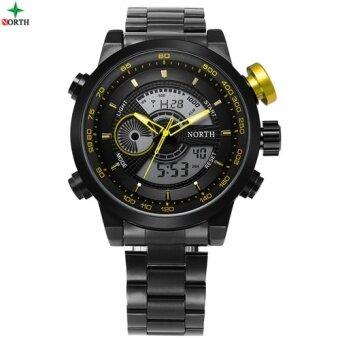 NORTH Men กีฬานาฬิกามัลติฟังก์ชั่น LED Digital นาฬิกาข้อมือชาย 2017 ของขวัญสเตนเลสกันน้ำ QUARTZ Sport 6015