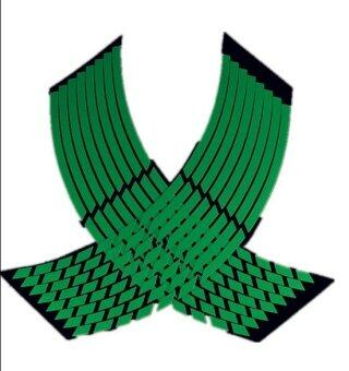 Okdeals 16 Strips Motorcycle Car Wheel Stickers Reflective RimStripe Tape Green