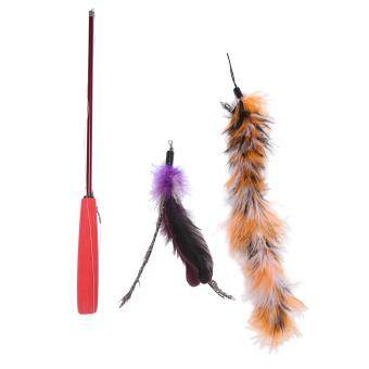 ประกาศขาย ounjea Cat Teaser Toy with Feather Retractable Wand 2 Pcs RefillCat Chaser Toy.