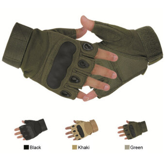 Outdoor Sports  Fashion Motorcycle Gloves Unisex Guantes Half Finger Green Black Quality Breathable Glove (Color : Army green Size : L) - Intl