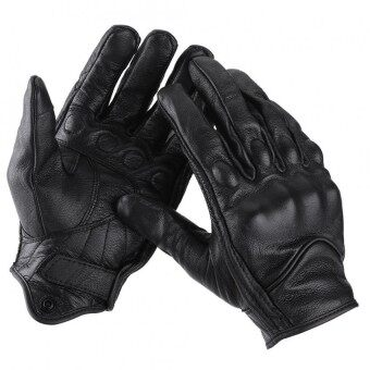 Pair of Full Finger Leather Motorcycle Cycling Racing Gloves Motocross Protective Gears Size L - intl