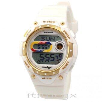 ราคา PASNEW MELGO นาฬิกาข้อมือผู้หญิง สีขาว สายเรซิน รุ่น PMG2001D-N9