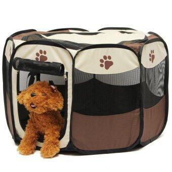 สัตว์เลี้ยงสุนัขหมาบ้านรั้วคอกเตียงนุ่มเล่นกรงหมากรงพับ PlaypenExerciseRun