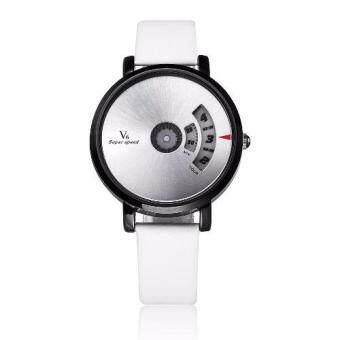 2561 Plusslim นาฬิกาแฟชั่น design เก๋ สำหรับผู้หญิง สวย เท่ห์ ไม่เหมือนใคร เป็นของขวัญ ของฝาก-ตัวเรือนสีเงิน สีขาว(white)