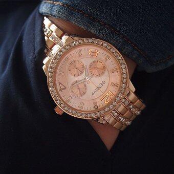 Poca Watch GENEVA The New Watch 2017 ยี่ห้อ นาฬิกาข้อมือ เครื่องประดับ เรือนสีทองชมพู ผู้หญิง แฟชั่น ลดราคาถูก PinkGold สาย Stainless