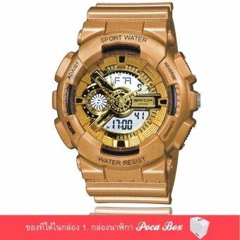 Poca Watch S SPORT นาฬิกาข้อมือ ใส่ได้ทั้งชายและหญิง กันน้ำได้- Po Sw-110-1 (Gold/ Gold) แถม กล่อง PocaBox