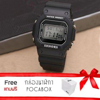 Poca Watch SHHORS PiCcY SPORT นาฬิกาข้อมือแฟชั่นผู้หญิง-ผู้ชาย นาฬิกาข้อมือ ดิจิตอล สายยาง เท่ๆ ราคาถูก รุ่น SH-718Black แถมฟรีกล่อง POCA