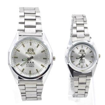POMAR นาฬิกาข้อมือคู่รัก (ได้สองเรือน) 9186-8122 (Silver/ White) พิเศษแถมกล่องนาฬิกาสุดหรู